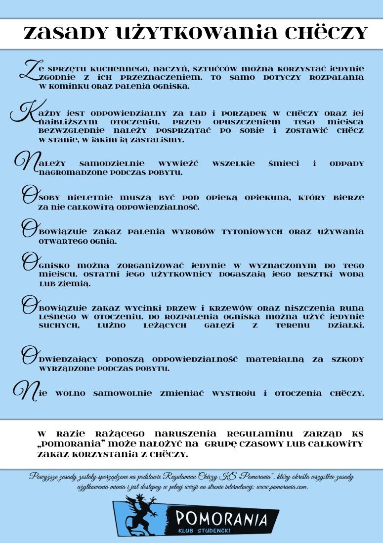 Zasady użytkowania Chëczy